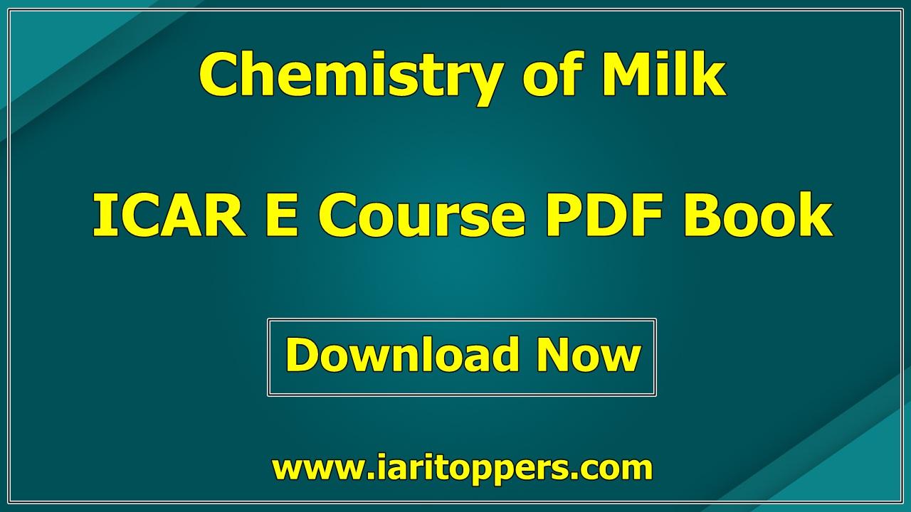 Chemistry Of Milk ICAR e course PDF Book Download E Krishi Shiksha