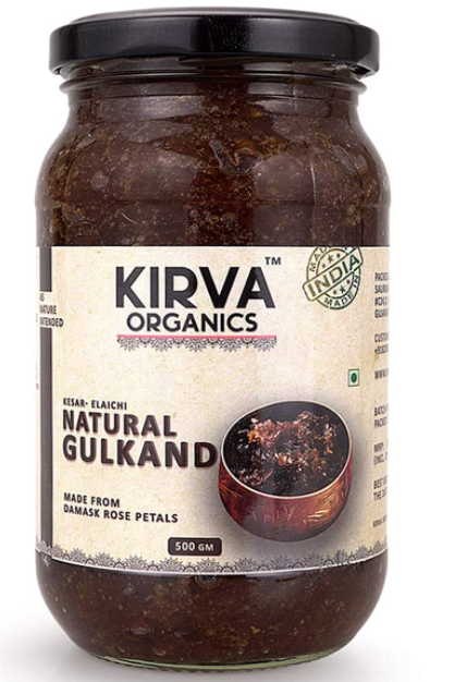 Kirva Organics Natural Gulkand | Damask Rose Petals & Rock Sugar - Kesar Elaichi - 500gm (500gm x 1)
