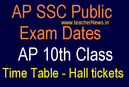 AP SSC Public Exam Dates 2019 AP 10th Class Time Table 2019 Hall tickets