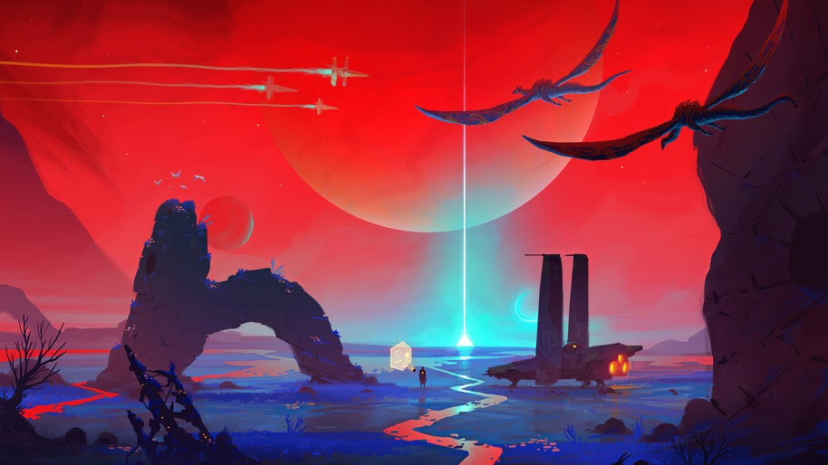 Sci-Fi, Spaceship, Planet, Landscape, 4K, #6.1273 Wallpaper