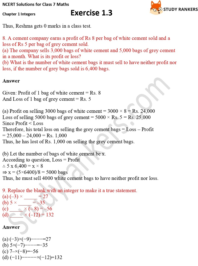 NCERT Solutions for Class 7 Maths Ch 1 Integers Exercise 1.3 5