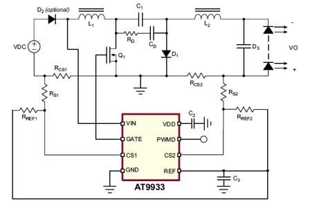 AT9933 Datasheet, the Automotive Hysteretic Boost-Buck LED Driver IC