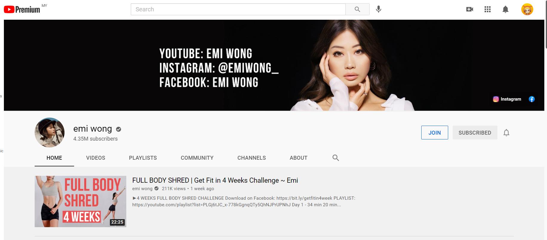 YouTube channel Emi Wong