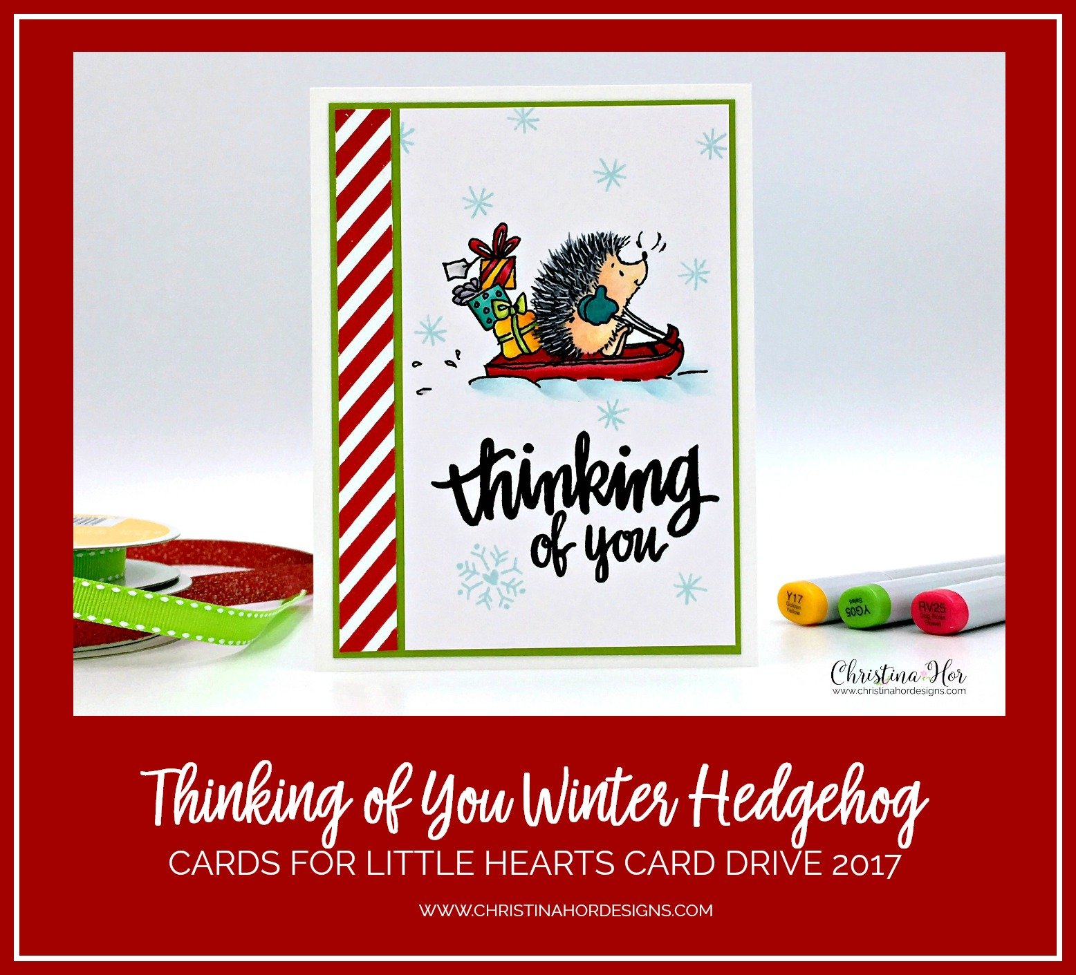 thinking of you winter holiday card hedgehog