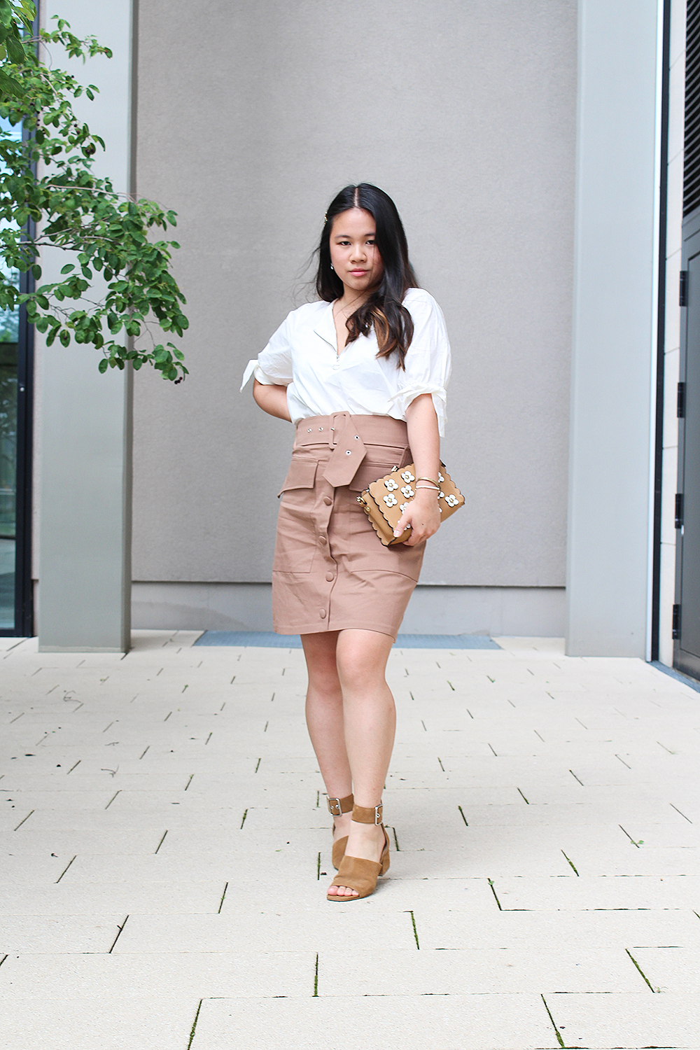 Brown belted skirt from NA-KD