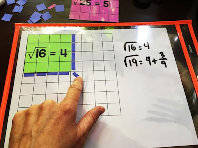 How to estimate square roots using visual models - approximating the square root of 19 using manipulatives