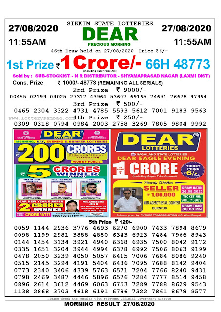 Sikkim State Lottery Sambad 27-08-2020 Today Result 11.55 AM