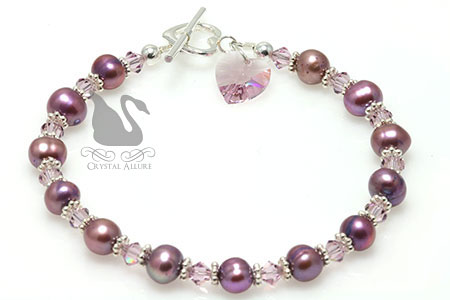 Purple Freshwater Pearl Crystal Heart Beaded Bracelet (B138)