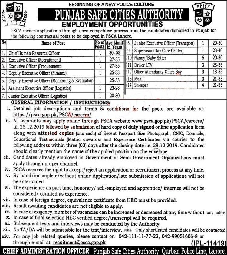 Punjab Safe City Authority Punjab Police Jobs 2020 December
