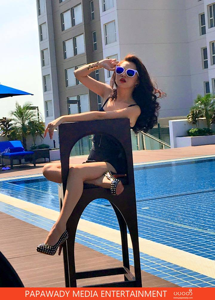 Thinzar Nwe Win Fashion Show Off At Novotel Max Hotel Pool