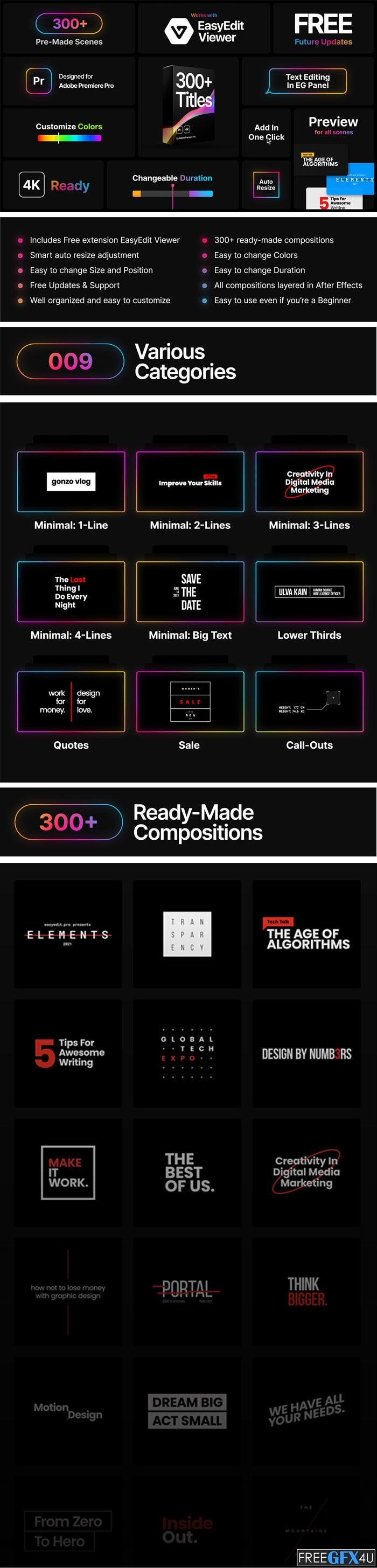 Titles Pro For Adobe Premiere CC Pro