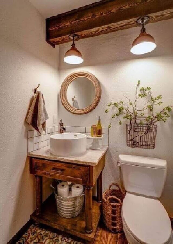 Decoration with round mirror for rustic bathroom