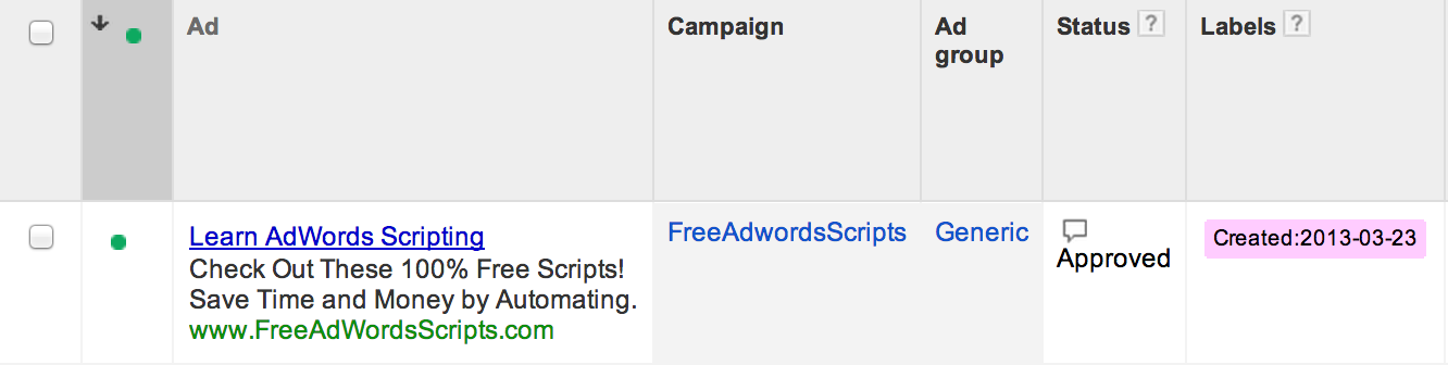 Free Adwords Scripts Figuring Out When Your Ad Adgroup Keyword Or Campaign Was Created
