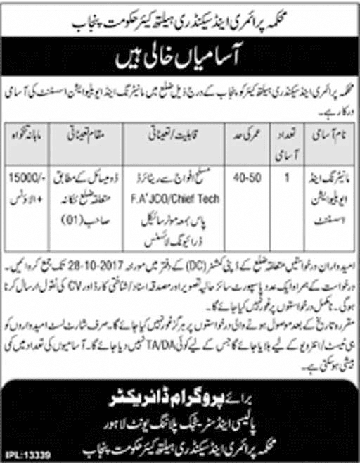 Jobs In Primary And Secondary Healthcare Department Lahore Oct 2017
