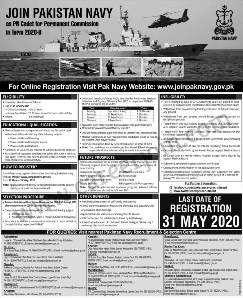 Join Pakistan Navy As PN Cadet For Permanent Commission 2020
