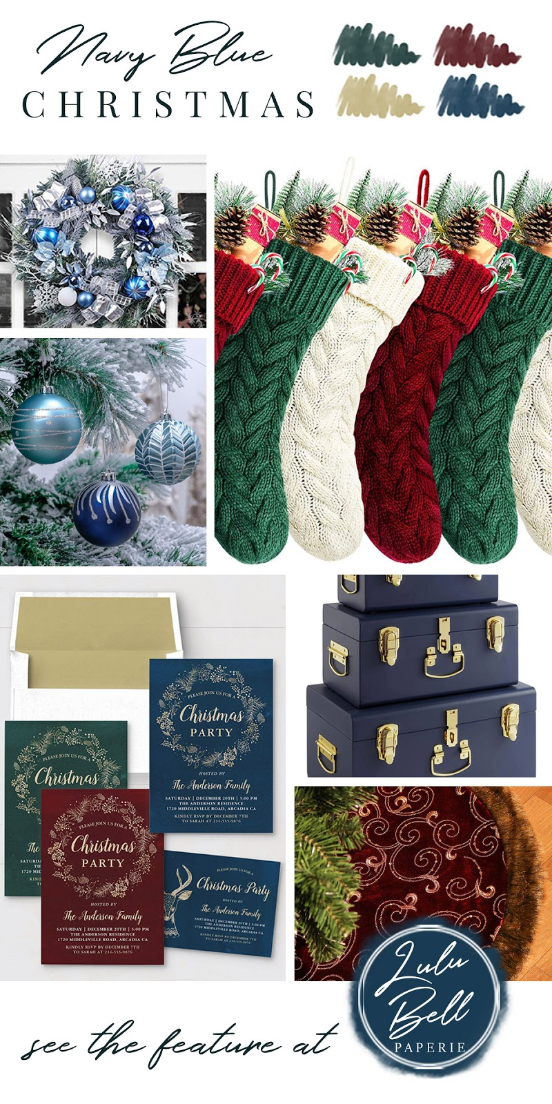 Burgundy, Navy Blue, Gold, and Green Christmas Color Palette Inspiration - Door Wreath, Stockings, Holiday Ornaments, Stationery Set, Storage Trunks, and Tree Skirt