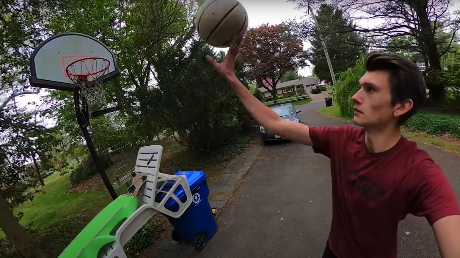 This outdoor Rube Goldberg Machine goes around my entire yard, and swishes a basketball shot after 70 steps. This video was filmed in one take, meaning there are absolutely no hidden cuts or edits. The machine took a month to build and another month to successfully work, so please share this with anyone who needs some entertainment during these strange times!