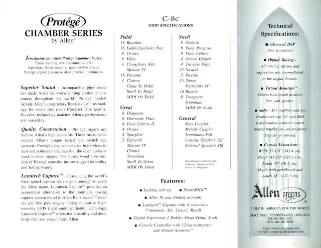 Allen Protégé C8c - Brochure stoplist