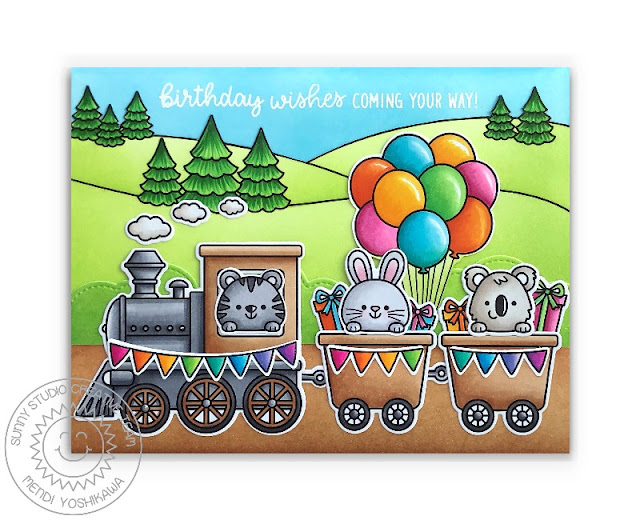 Sunny Studio Birthday Train Card (using Holiday Express, Floating By, Scenic Route, Beach Buddies & Balloon Rides Stamps)