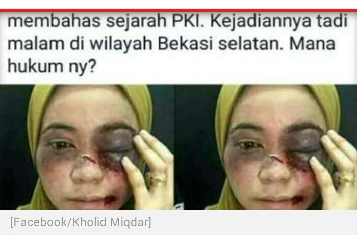 Ustazah di Bekasi Dikeroyok karena Ceramah soal PKI? Hoaks
