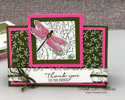Check out this super easy fun fold card featuring the Dragonfly Garden Bundle from Stampin' Up!  Click here to learn more