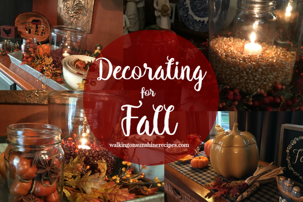 Decorating for Fall doesn't have to cost a lot of money.  Here are a few ideas for you to decorate for Fall in your home from Walking on Sunshine Recipes.