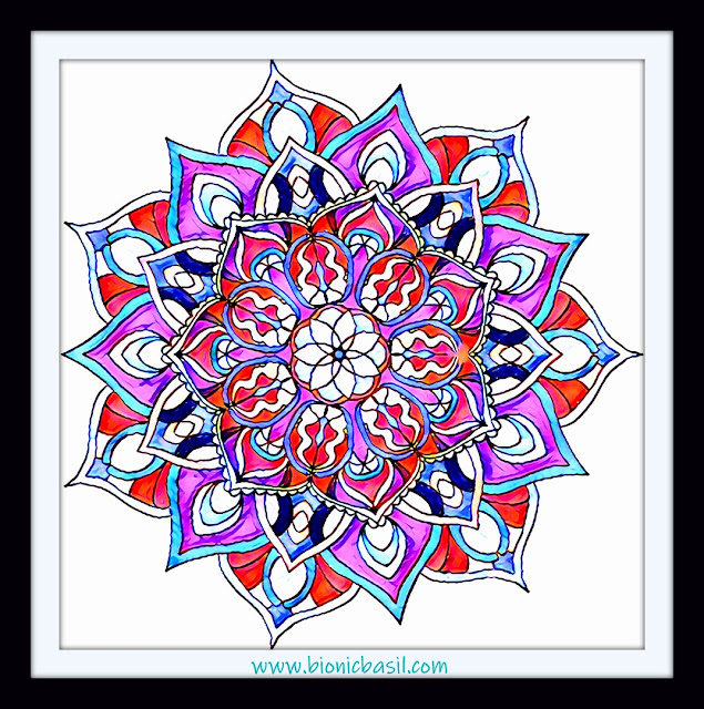 Mandalas on Monday ©BionicBasil® Colouring With Cats Mandala #106 coloured by Cathrine Garnell