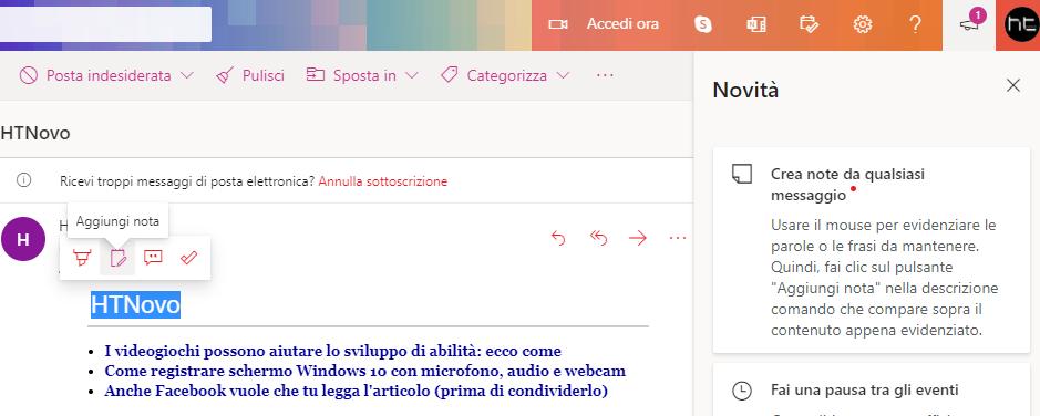 Creare nota da testo evidenziato in Outlook.com