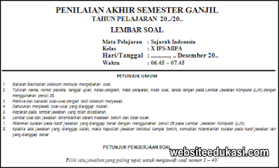 Soal Pas Sejarah Indonesia Kelas 10 K13 Tahun 2020 2021 Websiteedukasi Com