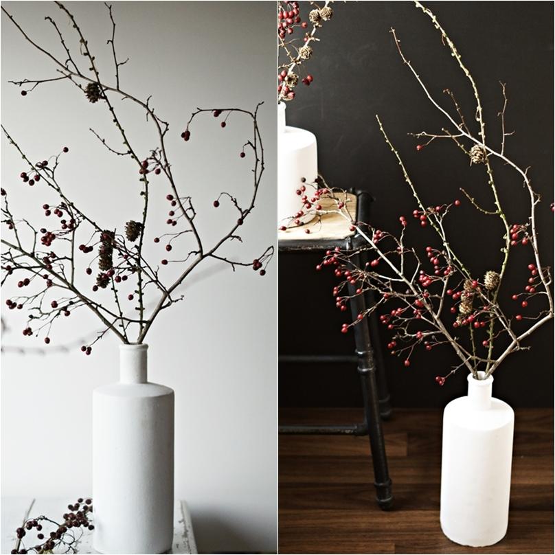 Blog + Fotografie by it's me! - Collage einer hohen weißen Steingutvase mit Zweigen