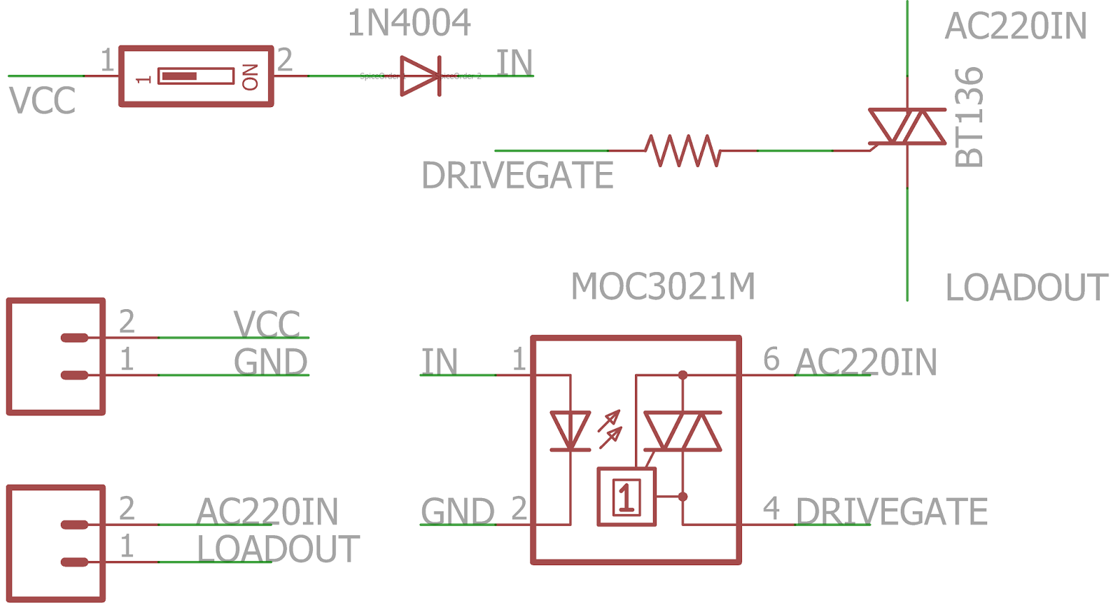 Use Triac As Relay Weargenius Driver Interfacing Schematics Up There I Have Provided A Schematic That Used For My Components Moc3021 Is Isolated And Easily Available In Market