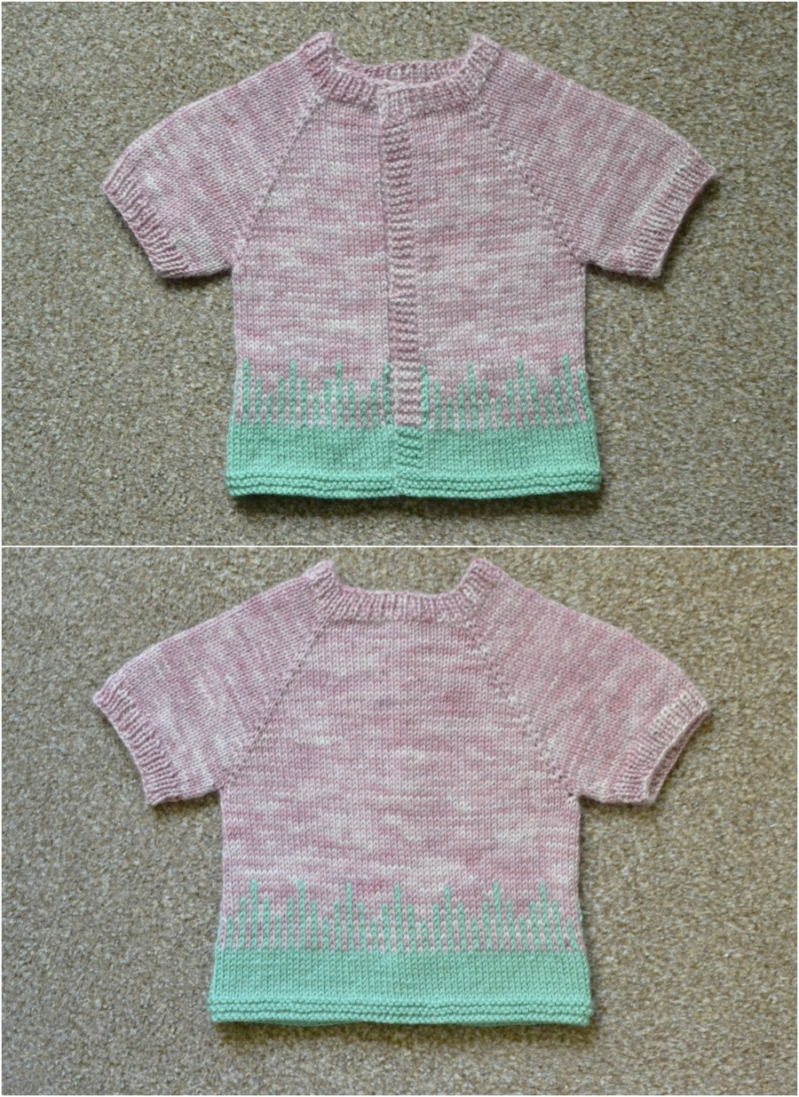 toddler cardigan yoke drips design colourwork baa baa brighouse brew clifton yarn pink green knitted baby