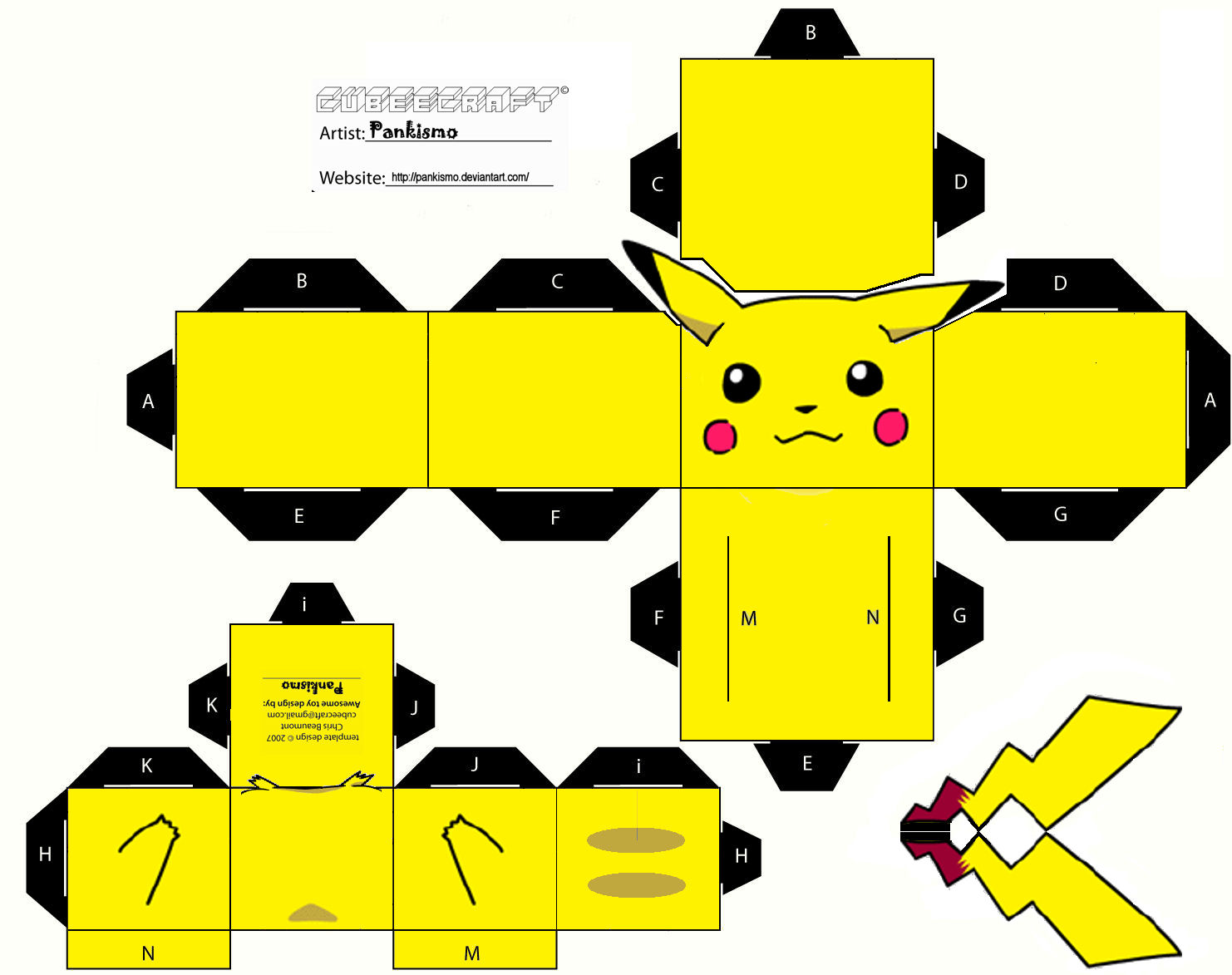 La Web Pokemon: Plantilla para crear, imprimir y recortar a Pikachu