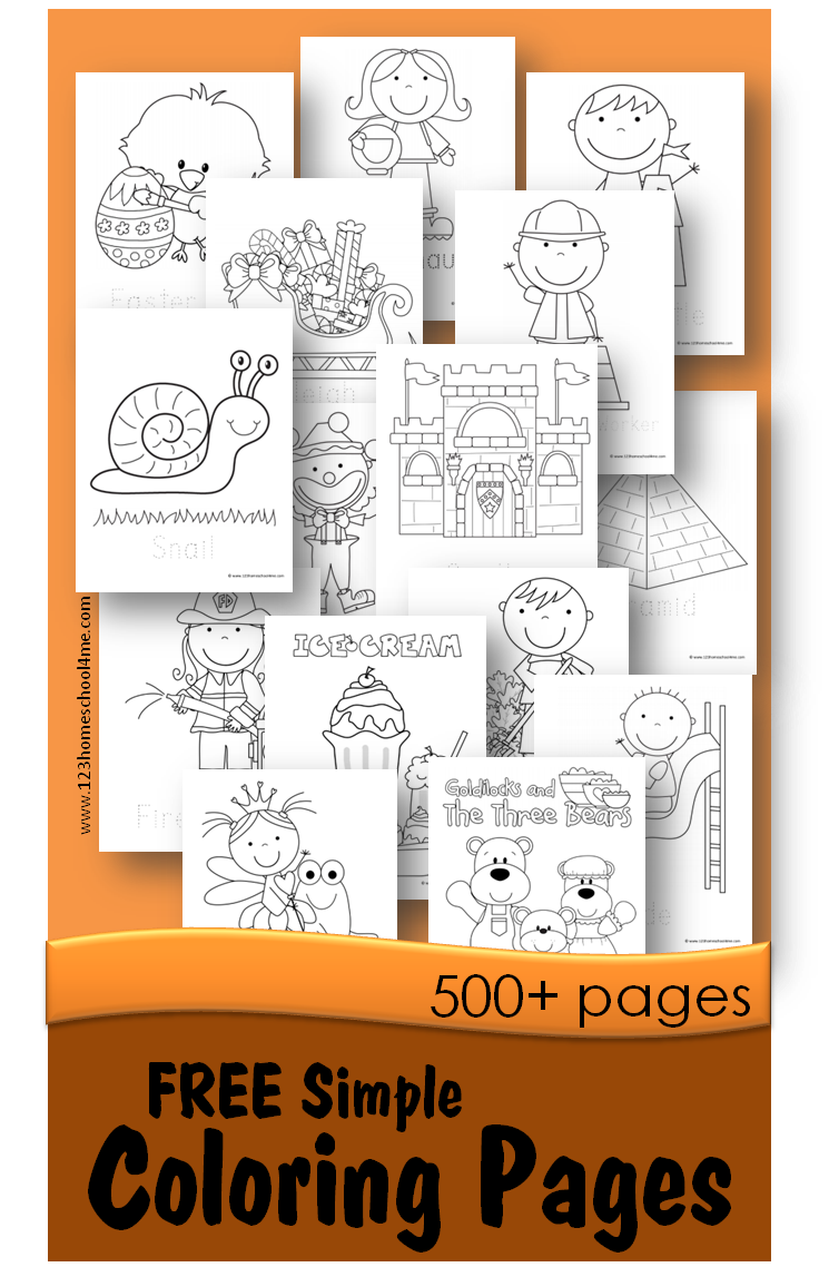 500 FREE Simple Coloring Pages