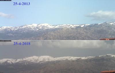 Comparativa nieve sierra de Guadarrama 25-4-2013 frente a 25-4-2018