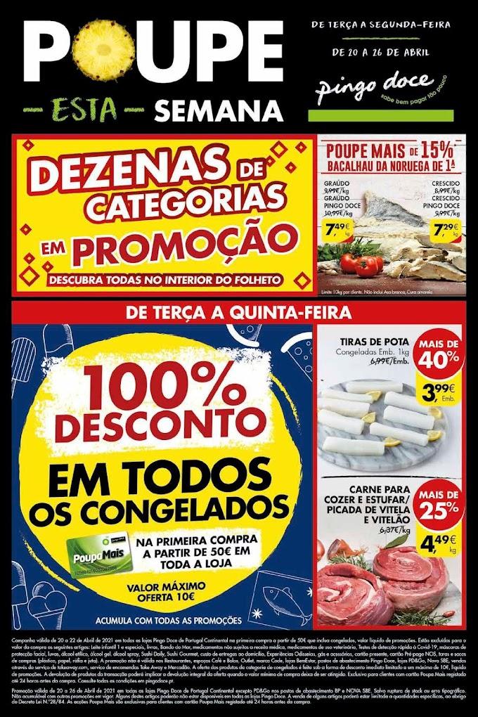 """Folheto PINGO DOCE """"Poupe esta Semana"""" com mega promoções de 20 a 26 de abril"""