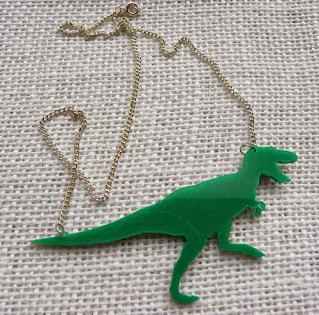 Perspex tyrannosaur rex necklace in green