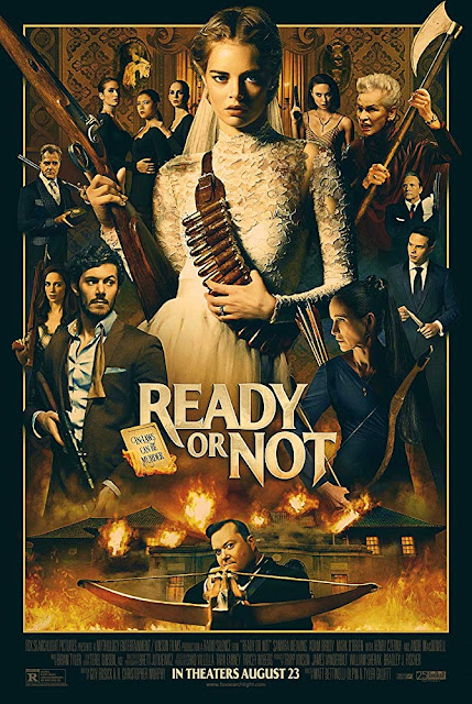 Movie poster for Fox Searchlight Pictures's 2019 horror film Ready or Not, starring Samara Weaving, Adam Brody, Henry Czerny, Mark O'Brien, and Andie MacDowell