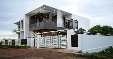 Rumah dua lantai bertema putih