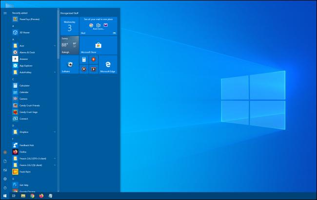 قائمة ابدأ أطول لـ Windows 10