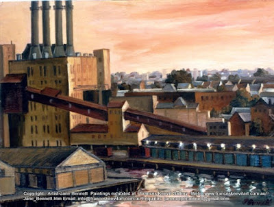 Plein air oil painting of Pyrmont Power Station and Pyrmont Wharves by industrial heritage artist Jane Bennett