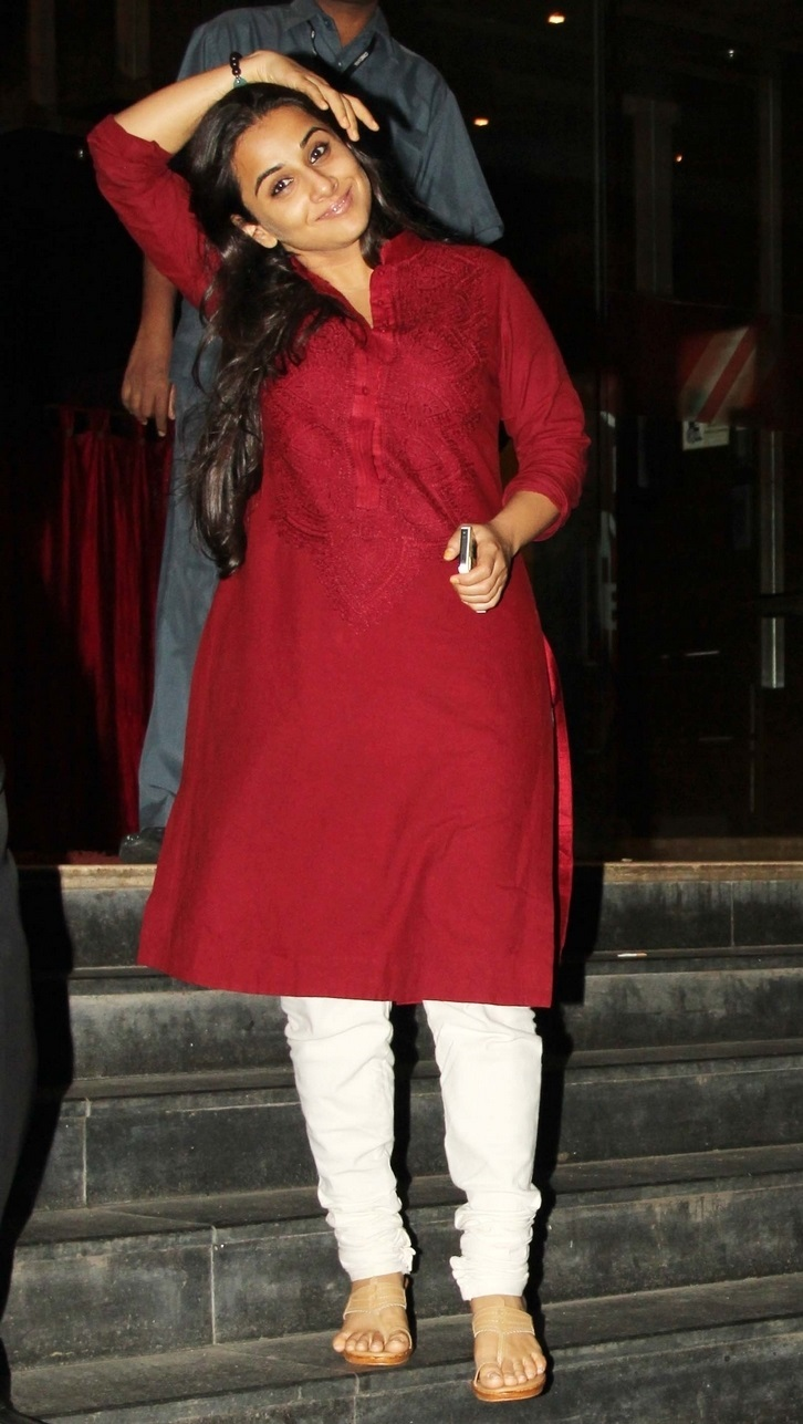 Actress Vidya Balan In Red Dress White Pant
