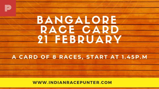 Bangalore Race Card 21 February, Race Cards,