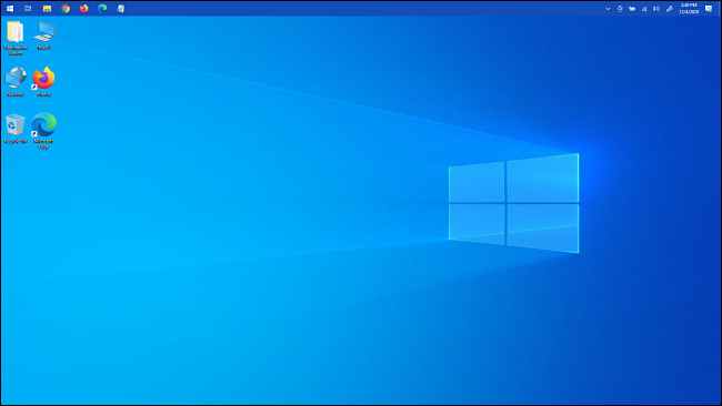 شريط مهام Windows 10 أعلى الشاشة.
