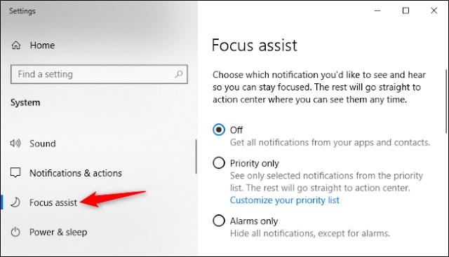 التركيز على خيارات المساعدة في إعدادات ويندوز 10