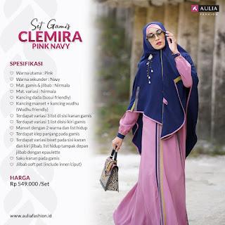 Koleksi Gamis Set Syari Aulia Clemira Pink Navy