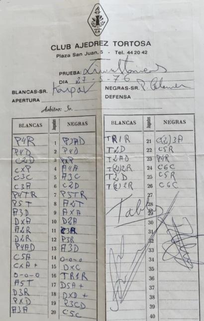 Planilla de la partida de ajedrez Kárpov-Pere Colomer Guart, 1976