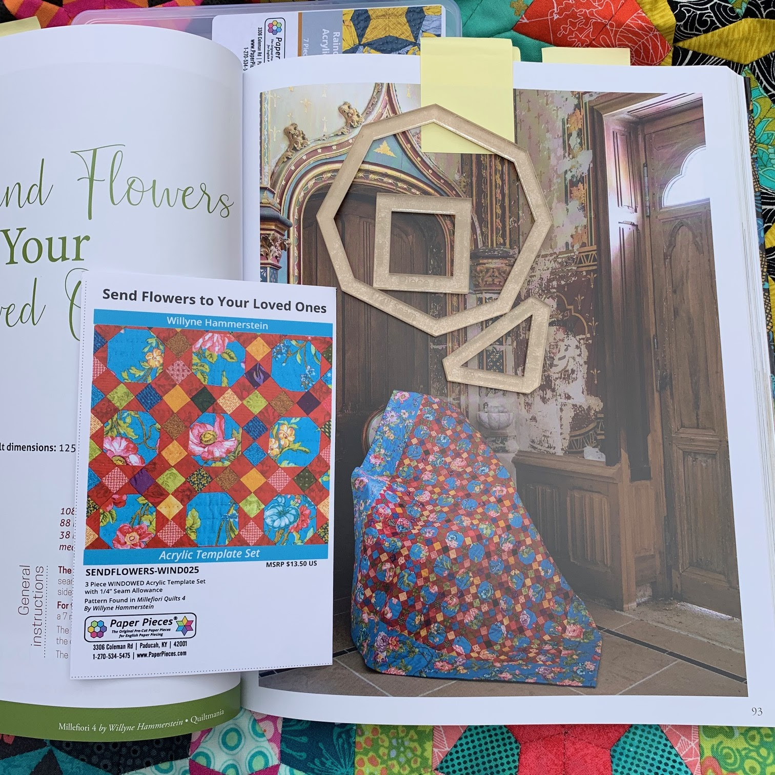 Original 1//4 Templates, Papers, and Book Ballet with Kaffe Fassett Quilt Millefiori Quilts 2 by Willyne Hammerstein