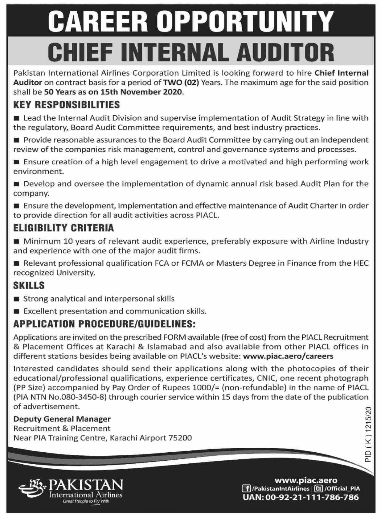 Pakistan International Airlines PIA Latest Jobs in Pakistan - Online Apply - www.piac.aero/careers