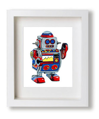 Toy robot colored pencil drawing by Kim W. Nolan
